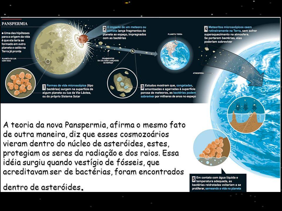 A teoria da nova Panspermia, afirma o mesmo fato de outra maneira, diz que esses cosmozoários vieram dentro do núcleo de asteróides, estes, protegiam os seres da radiação e dos raios.