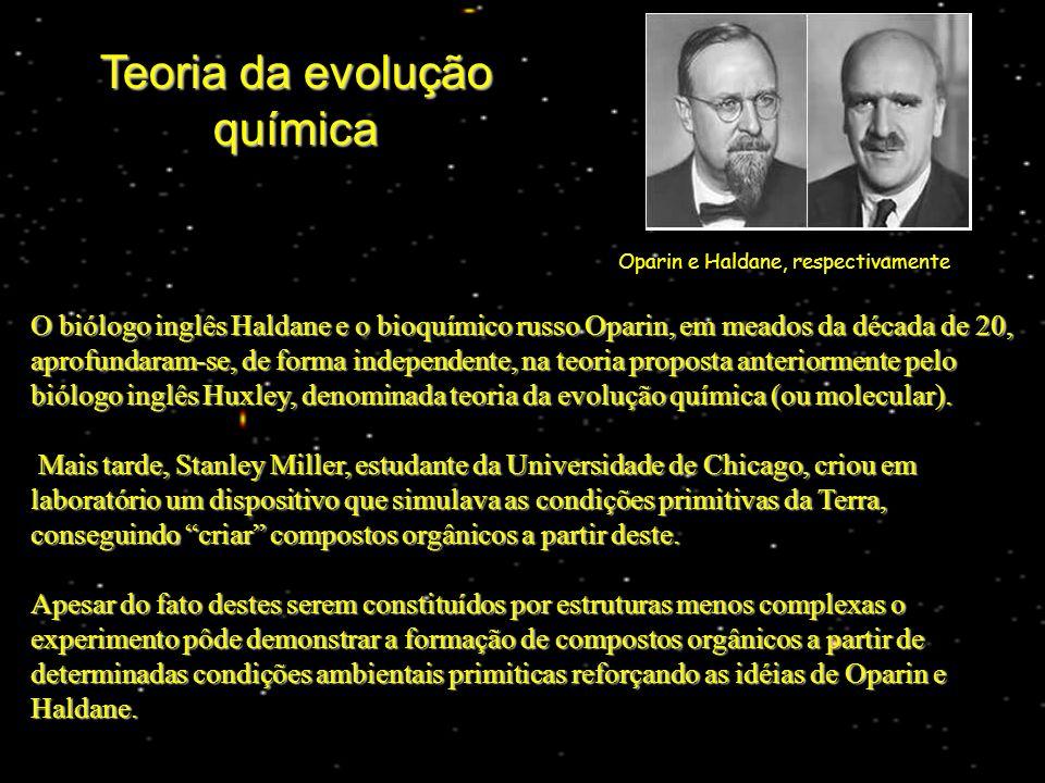 O biólogo inglês Haldane e o bioquímico russo Oparin, em meados da década de 20, aprofundaram-se, de forma independente, na teoria proposta anteriormente pelo biólogo inglês Huxley, denominada teoria da evolução química (ou molecular).