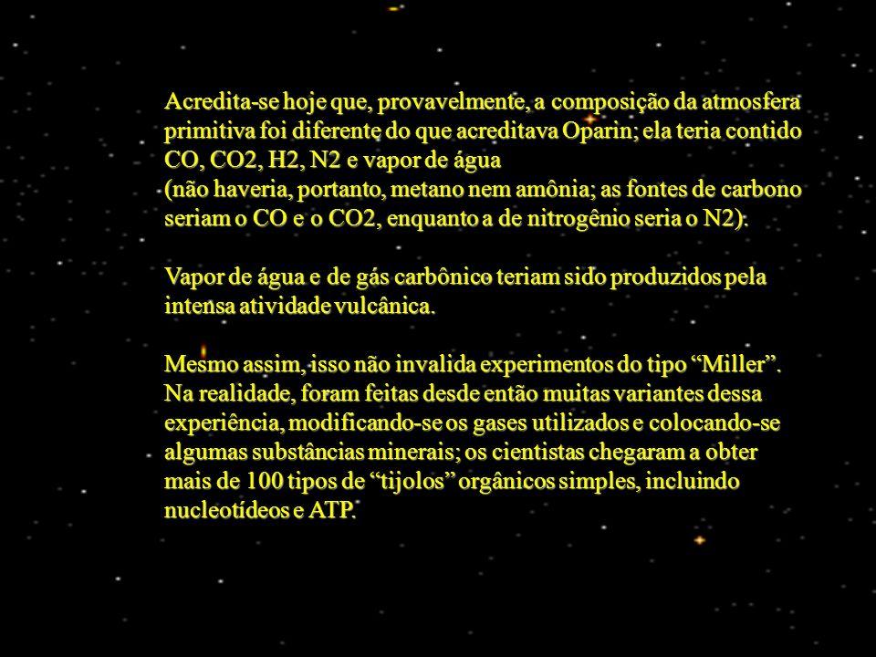 Acredita-se hoje que, provavelmente, a composição da atmosfera primitiva foi diferente do que acreditava Oparin; ela teria contido CO, CO2, H2, N2 e v