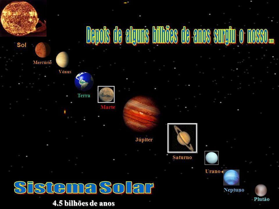 Sol Vénus Terra Marte Mercúrio Júpiter Saturno Urano Neptuno Plutão 4.5 bilhões de anos