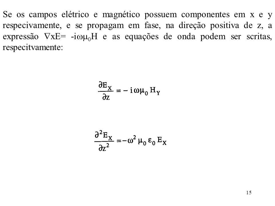 15 Se os campos elétrico e magnético possuem componentes em x e y respecivamente, e se propagam em fase, na direção positiva de z, a expressão xE= -i