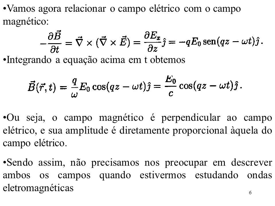 17 Se dividirmos E x =E 0 sen(kx- t) pelo expressão anterior