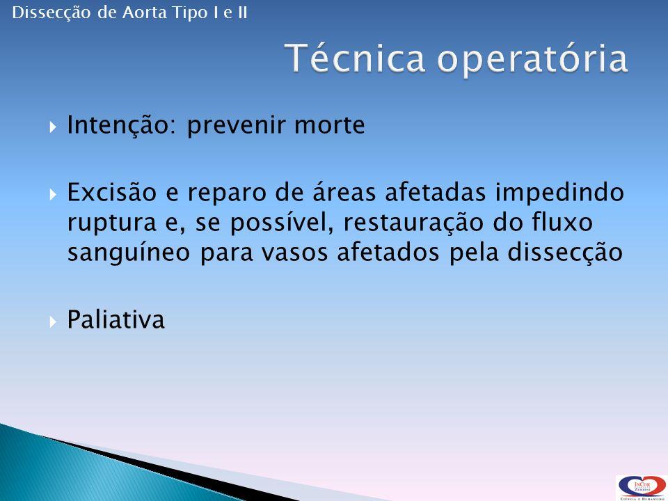 Intenção: prevenir morte Excisão e reparo de áreas afetadas impedindo ruptura e, se possível, restauração do fluxo sanguíneo para vasos afetados pela dissecção Paliativa Dissecção de Aorta Tipo I e II