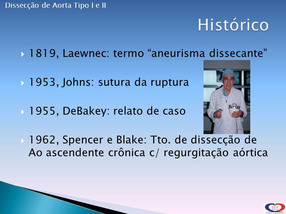1819, Laewnec: termo aneurisma dissecante 1953, Johns: sutura da ruptura 1955, DeBakey: relato de caso 1962, Spencer e Blake: Tto.