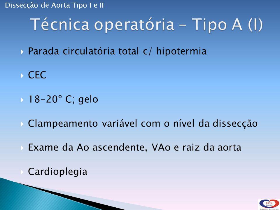 Parada circulatória total c/ hipotermia CEC 18-20º C; gelo Clampeamento variável com o nível da dissecção Exame da Ao ascendente, VAo e raiz da aorta Cardioplegia Dissecção de Aorta Tipo I e II