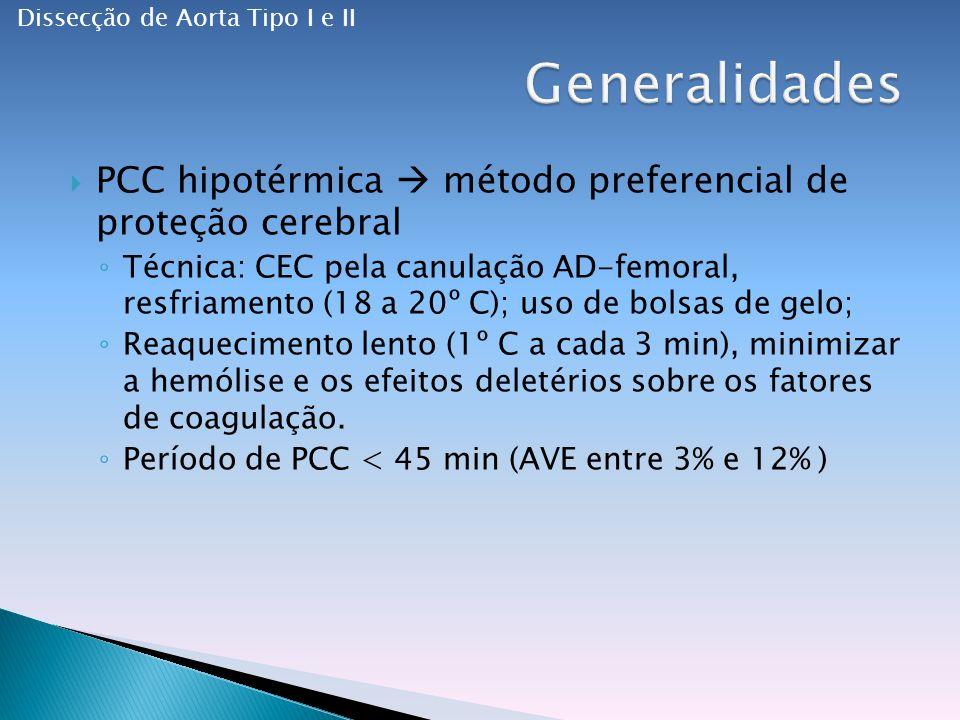 PCC hipotérmica método preferencial de proteção cerebral Técnica: CEC pela canulação AD-femoral, resfriamento (18 a 20º C); uso de bolsas de gelo; Reaquecimento lento (1º C a cada 3 min), minimizar a hemólise e os efeitos deletérios sobre os fatores de coagulação.