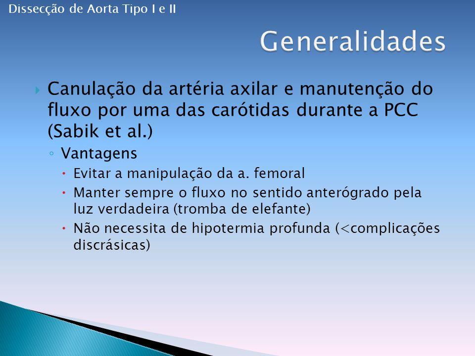 Canulação da artéria axilar e manutenção do fluxo por uma das carótidas durante a PCC (Sabik et al.) Vantagens Evitar a manipulação da a.