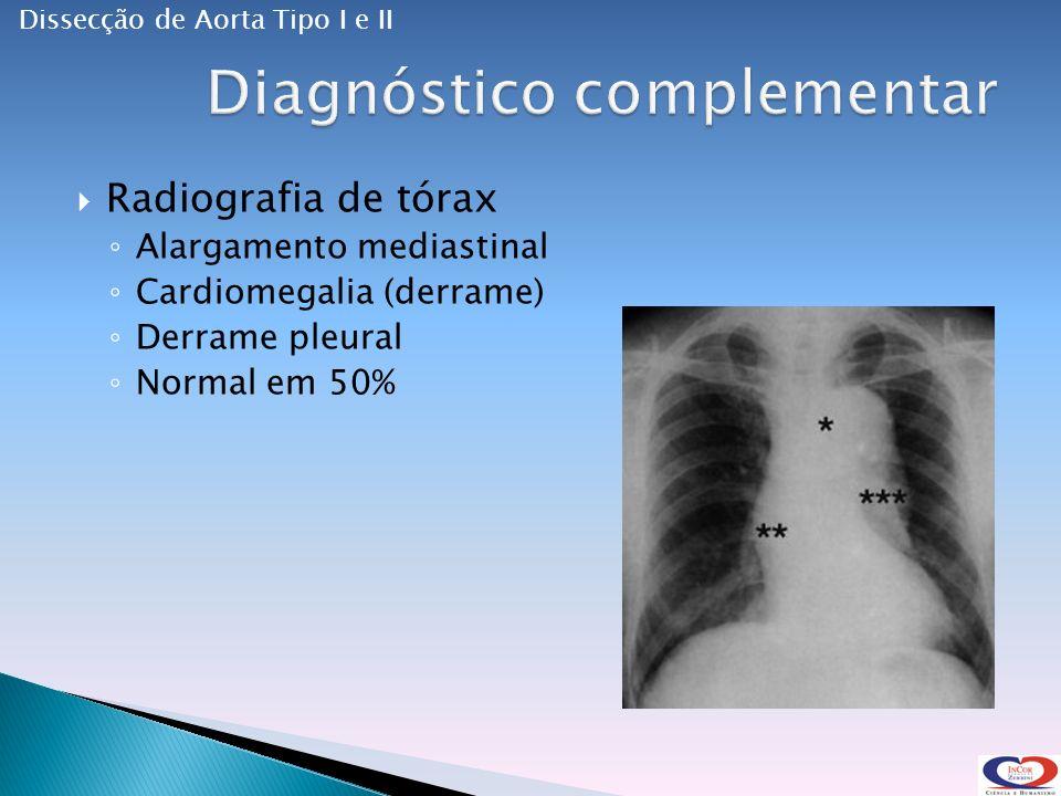 Radiografia de tórax Alargamento mediastinal Cardiomegalia (derrame) Derrame pleural Normal em 50% Dissecção de Aorta Tipo I e II