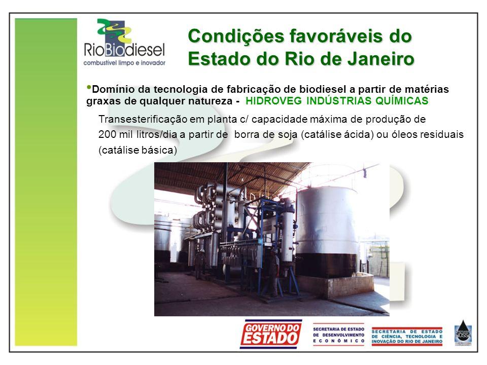 Condições favoráveis do Estado do Rio de Janeiro Domínio da tecnologia de fabricação de biodiesel a partir de matérias graxas de qualquer natureza - HIDROVEG INDÚSTRIAS QUÍMICAS Transesterificação em planta c/ capacidade máxima de produção de 200 mil litros/dia a partir de borra de soja (catálise ácida) ou óleos residuais (catálise básica)