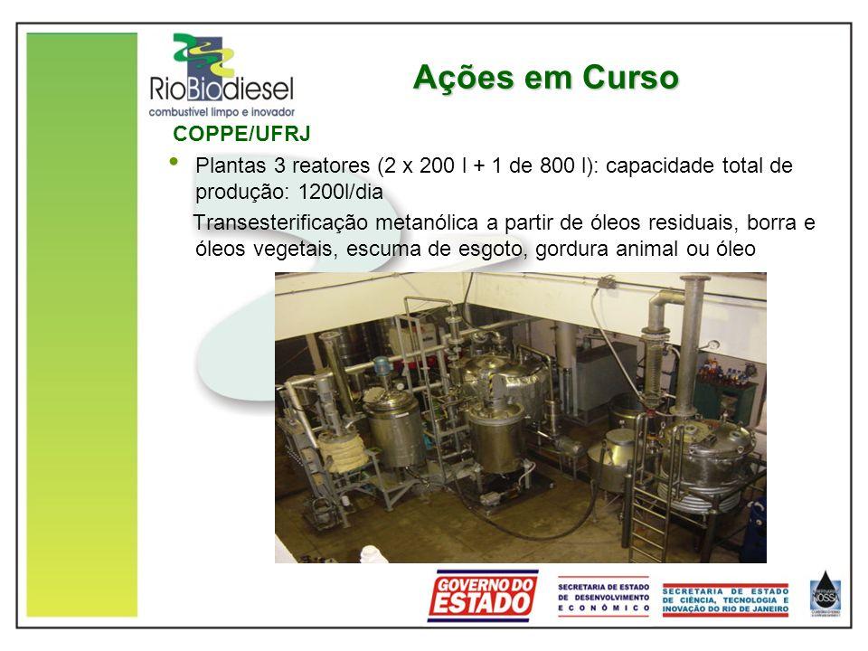 Ações em Curso COPPE/UFRJ Plantas 3 reatores (2 x 200 l + 1 de 800 l): capacidade total de produção: 1200l/dia Transesterificação metanólica a partir de óleos residuais, borra e óleos vegetais, escuma de esgoto, gordura animal ou óleo