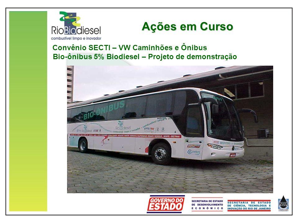 Ações em Curso Convênio SECTI – VW Caminhões e Ônibus Bio-ônibus 5% Biodiesel – Projeto de demonstração