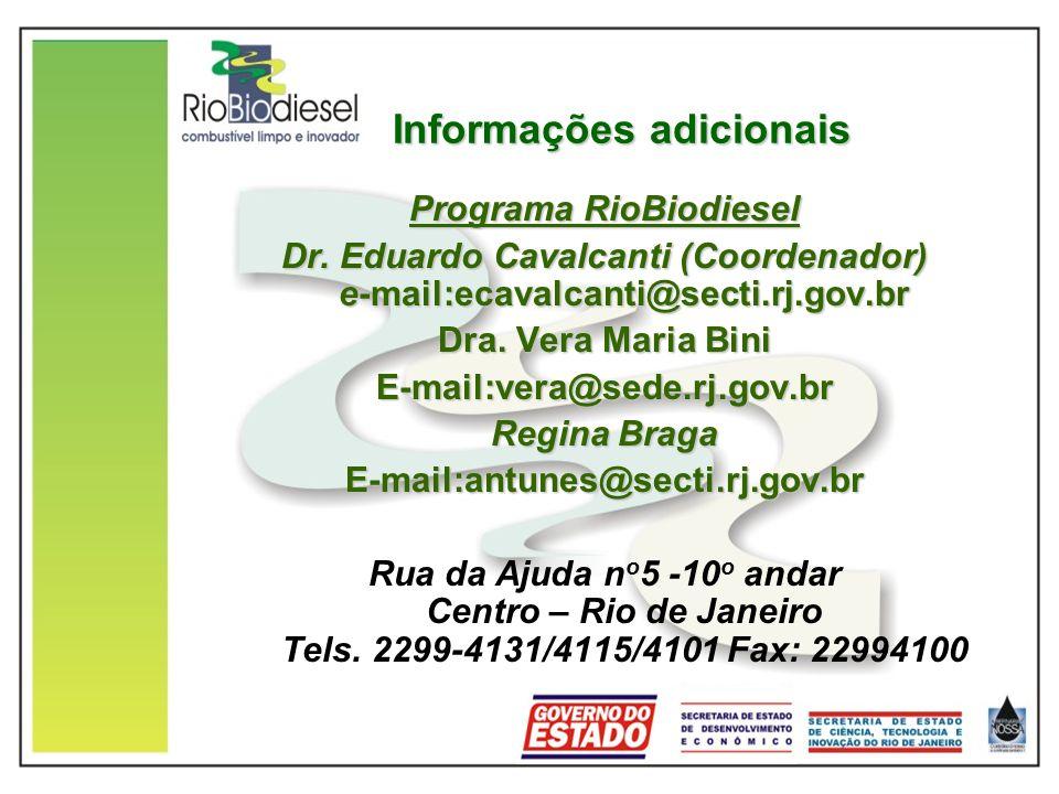 Informações adicionais Programa RioBiodiesel Dr.