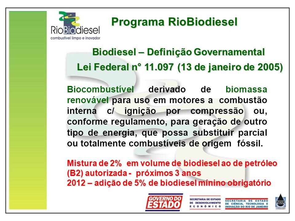 Programa RioBiodiesel Biocombustível derivado de biomassa renovável para uso em motores a combustão interna c/ ignição por compressão ou, conforme regulamento, para geração de outro tipo de energia, que possa substituir parcial ou totalmente combustíveis de origem fóssil.