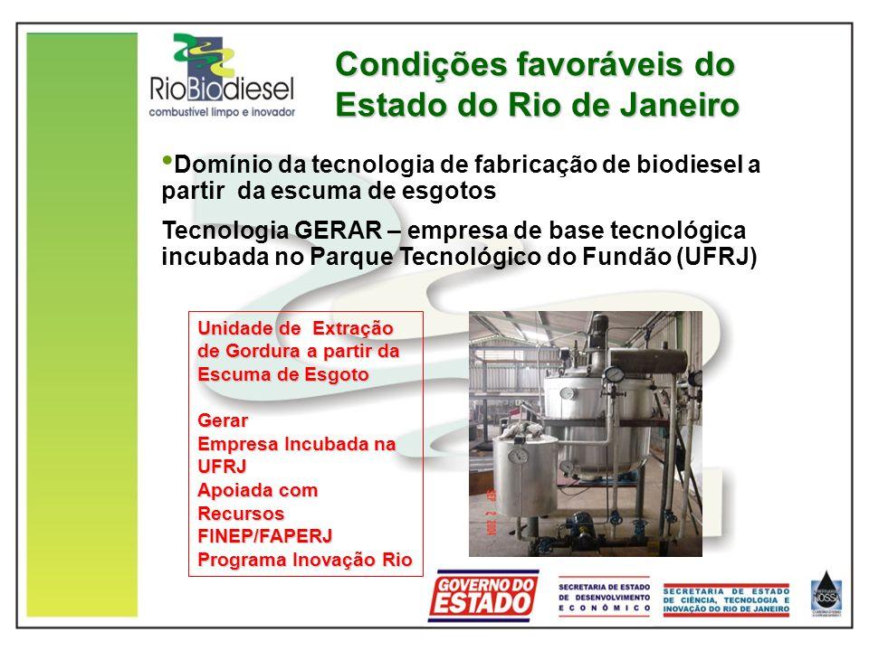 Condições favoráveis do Estado do Rio de Janeiro Unidade de Extração de Gordura a partir da Escuma de Esgoto Gerar Empresa Incubada na UFRJ Apoiada com Recursos FINEP/FAPERJ Programa Inovação Rio Domínio da tecnologia de fabricação de biodiesel a partir da escuma de esgotos Tecnologia GERAR – empresa de base tecnológica incubada no Parque Tecnológico do Fundão (UFRJ)