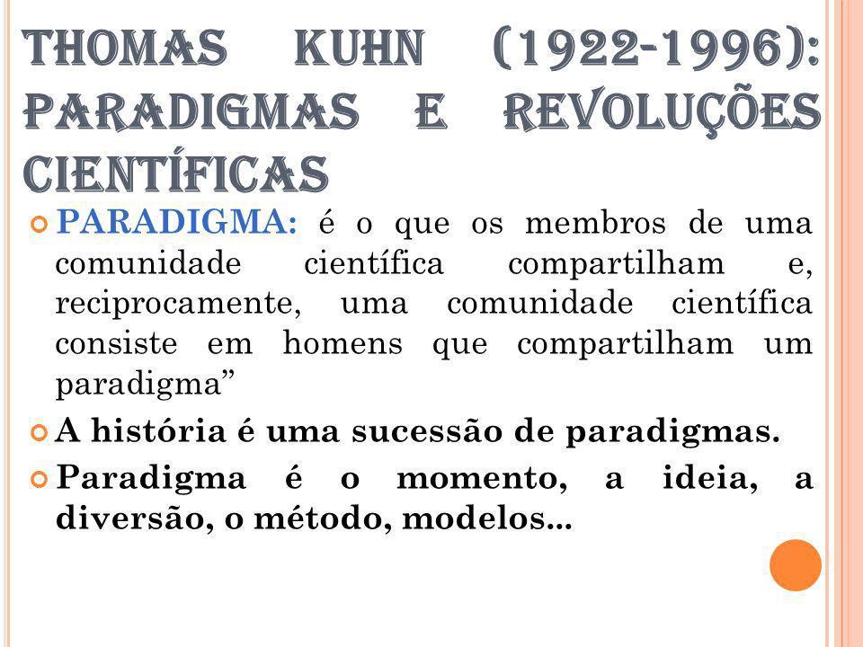 THOMAS KUHN (1922-1996): PARADIGMAS E REVOLUÇÕES CIENTÍFICAS PARADIGMA: é o que os membros de uma comunidade científica compartilham e, reciprocamente