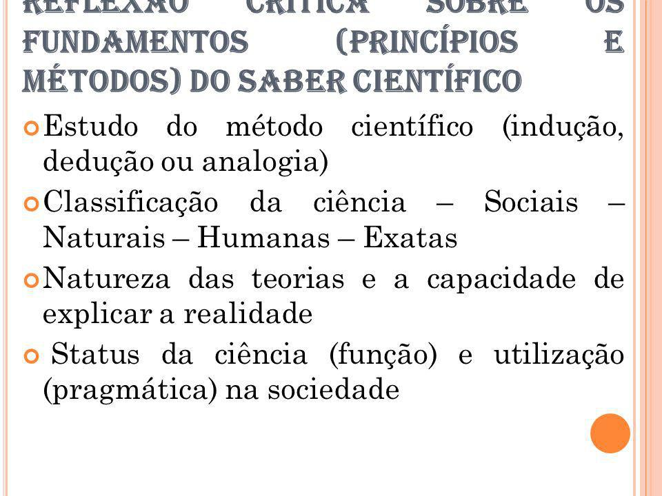 REFLEXÃO CRÍTICA SOBRE OS FUNDAMENTOS (PRINCÍPIOS E MÉTODOS) DO SABER CIENTÍFICO Estudo do método científico (indução, dedução ou analogia) Classifica