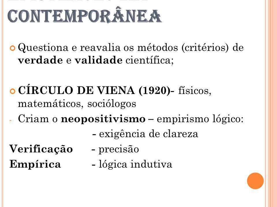 EPISTEMOLOGIA CONTEMPORÂNEA Questiona e reavalia os métodos (critérios) de verdade e validade científica; CÍRCULO DE VIENA (1920)- físicos, matemático