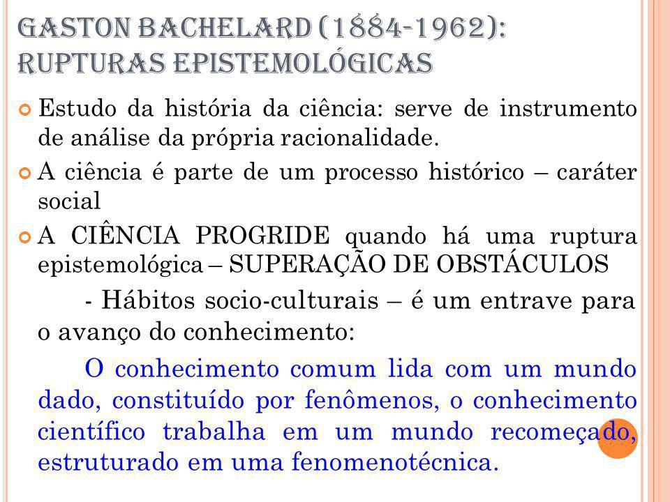 GASTON BACHELARD (1884-1962): RUPTURAS EPISTEMOLÓGICAS Estudo da história da ciência: serve de instrumento de análise da própria racionalidade. A ciên