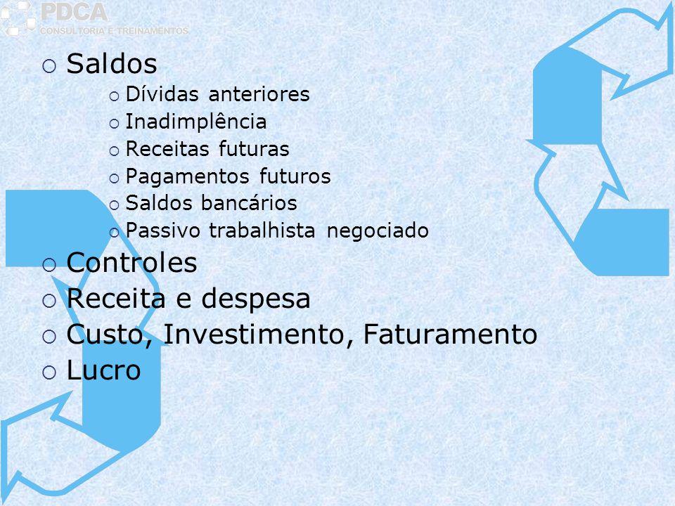 Saldos Dívidas anteriores Inadimplência Receitas futuras Pagamentos futuros Saldos bancários Passivo trabalhista negociado Controles Receita e despesa