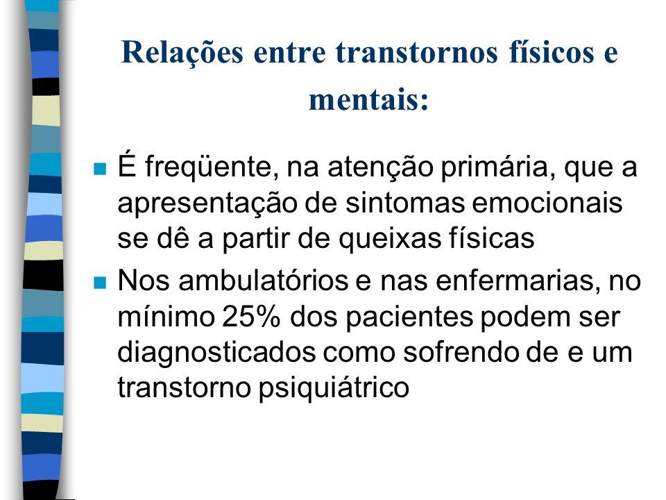 Relações entre transtornos físicos e mentais: n Transtorno mental com manifestação de doença física de base (14%) (especialmente se: sintomas abruptos,sem fatores psicossociais relacionados, acima de 45 anos, e sem história de T.M.