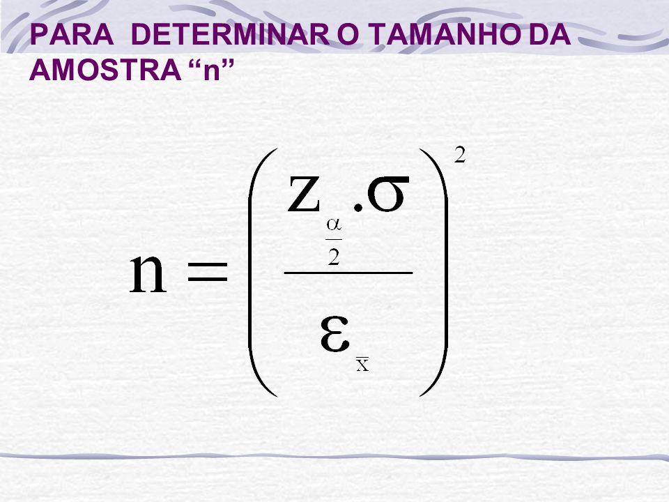 PARA DETERMINAR O TAMANHO DA AMOSTRA n