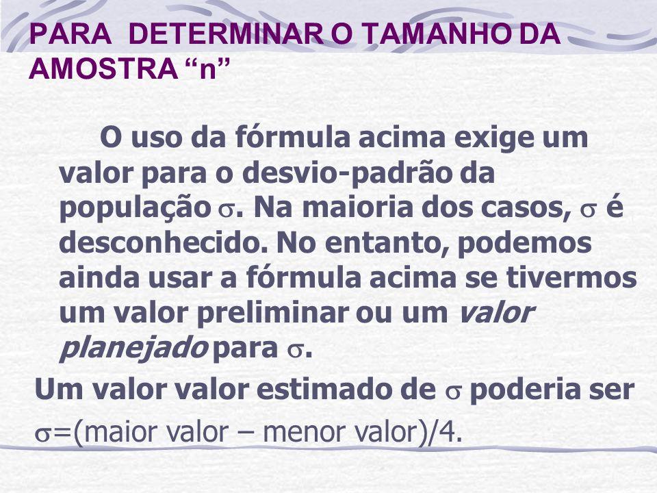 O uso da fórmula acima exige um valor para o desvio-padrão da população. Na maioria dos casos, é desconhecido. No entanto, podemos ainda usar a fórmul