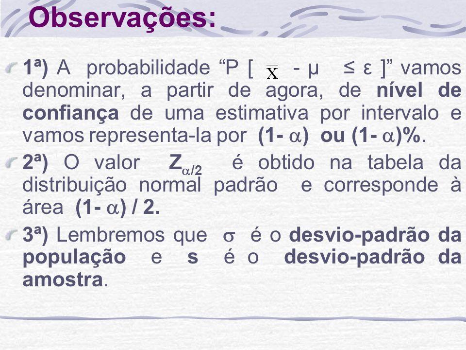 Observações: 1ª) A probabilidade P [ - μ ε ] vamos denominar, a partir de agora, de nível de confiança de uma estimativa por intervalo e vamos represe