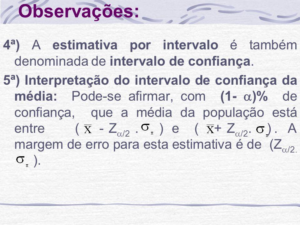 Observações: 4ª) A estimativa por intervalo é também denominada de intervalo de confiança. 5ª) Interpretação do intervalo de confiança da média: Pode-