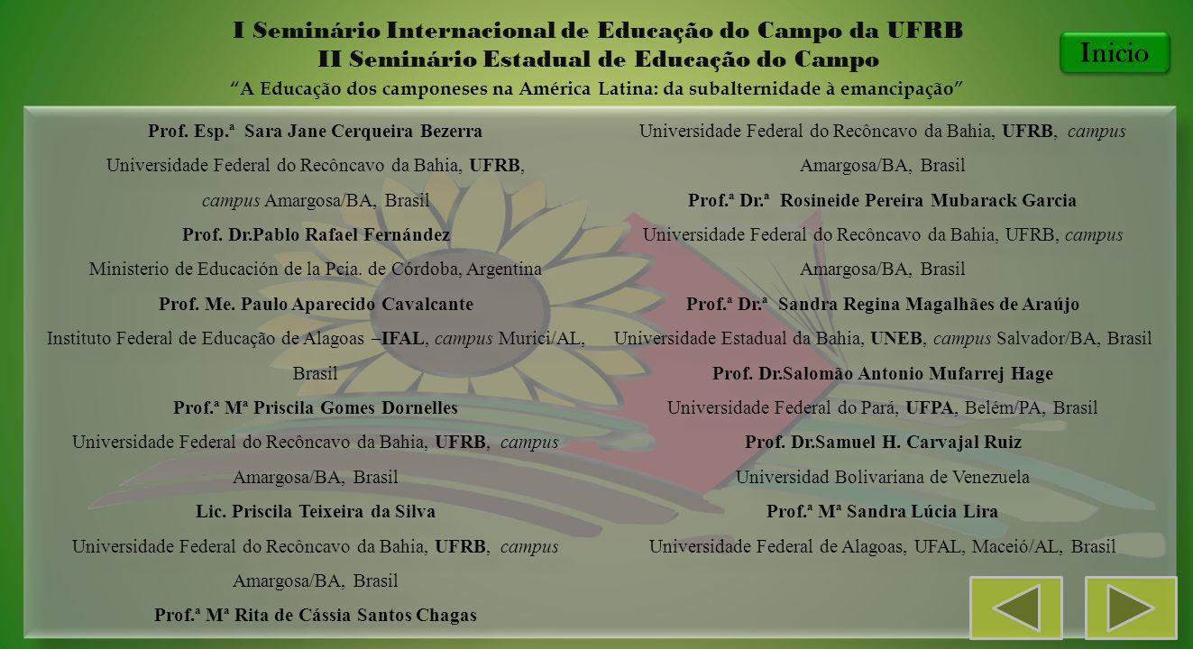 Prof. Esp.ª Sara Jane Cerqueira Bezerra Universidade Federal do Recôncavo da Bahia, UFRB, campus Amargosa/BA, Brasil Prof. Dr.Pablo Rafael Fernández M