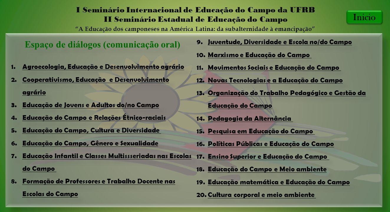 Espaço de diálogos (comunicação oral) 1.Agroecologia, Educação e Desenvolvimento agrário Agroecologia, Educação e Desenvolvimento agrário 2.Cooperativ