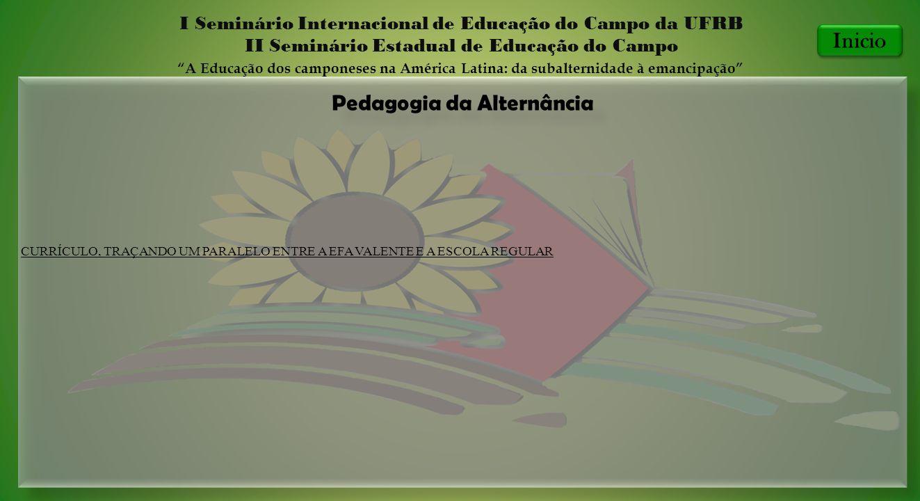 Pedagogia da Alternância I Seminário Internacional de Educação do Campo da UFRB II Seminário Estadual de Educação do Campo A Educação dos camponeses n