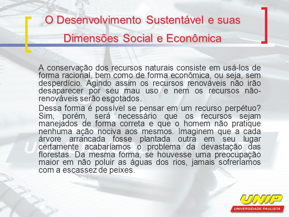 O Desenvolvimento Sustentável e suas Dimensões Social e Econômica A conservação dos recursos naturais consiste em usá-los de forma racional, bem como