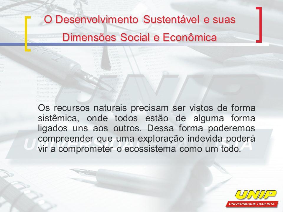O Desenvolvimento Sustentável e suas Dimensões Social e Econômica Os recursos naturais precisam ser vistos de forma sistêmica, onde todos estão de alg