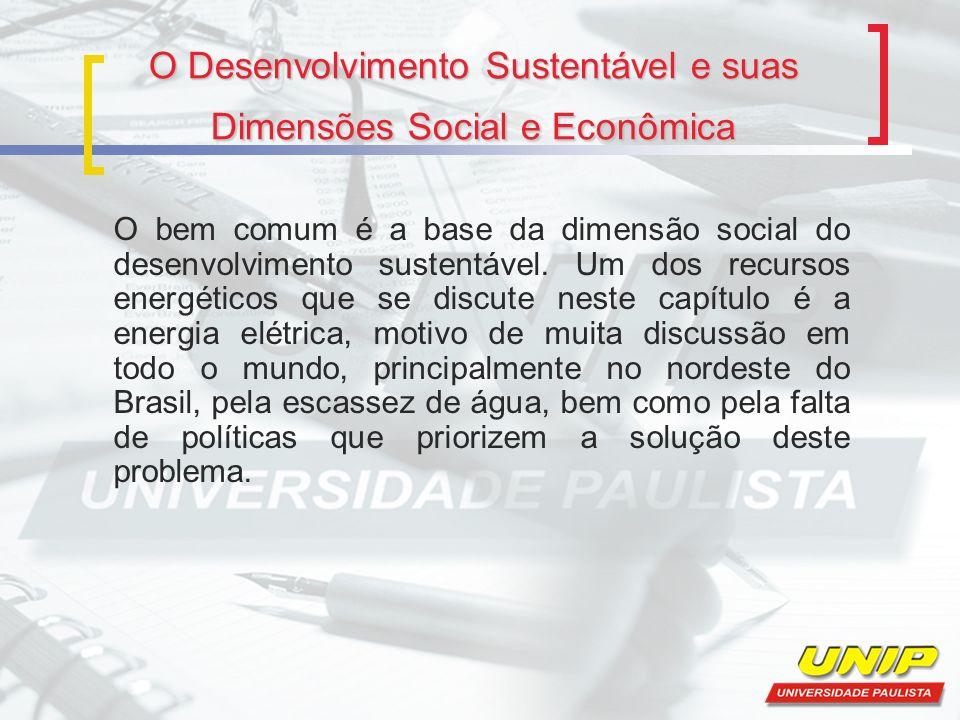 O Desenvolvimento Sustentável e suas Dimensões Social e Econômica O bem comum é a base da dimensão social do desenvolvimento sustentável. Um dos recur