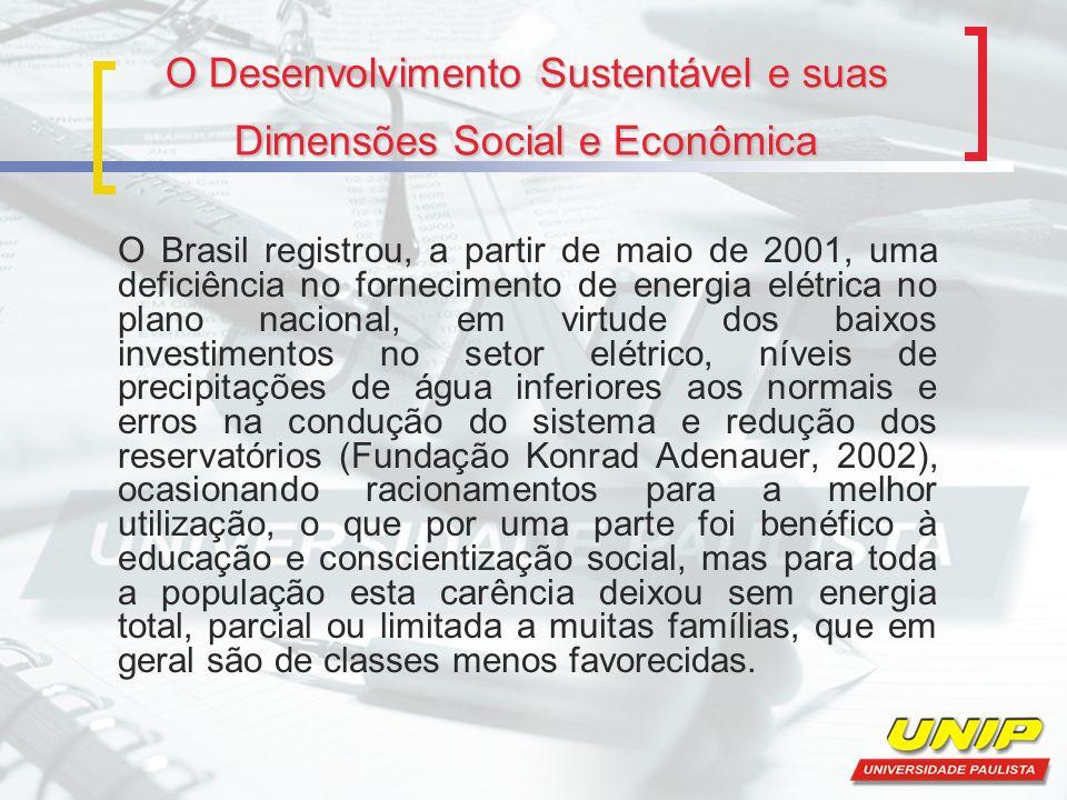 O Desenvolvimento Sustentável e suas Dimensões Social e Econômica O Brasil registrou, a partir de maio de 2001, uma deficiência no fornecimento de ene