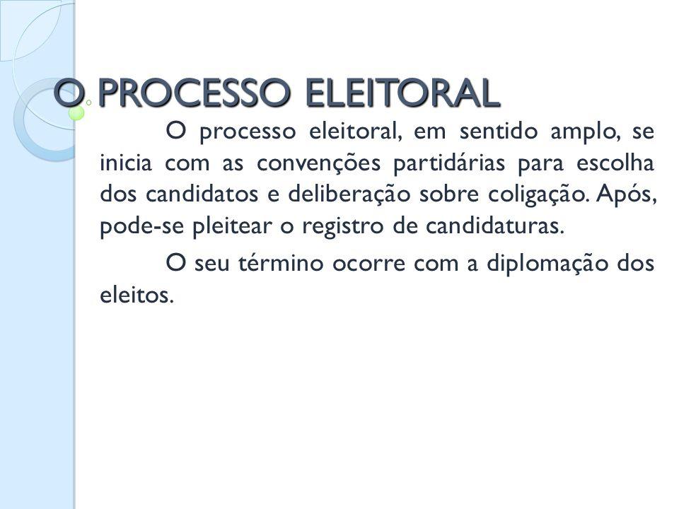O PROCESSO ELEITORAL O processo eleitoral, em sentido amplo, se inicia com as convenções partidárias para escolha dos candidatos e deliberação sobre c