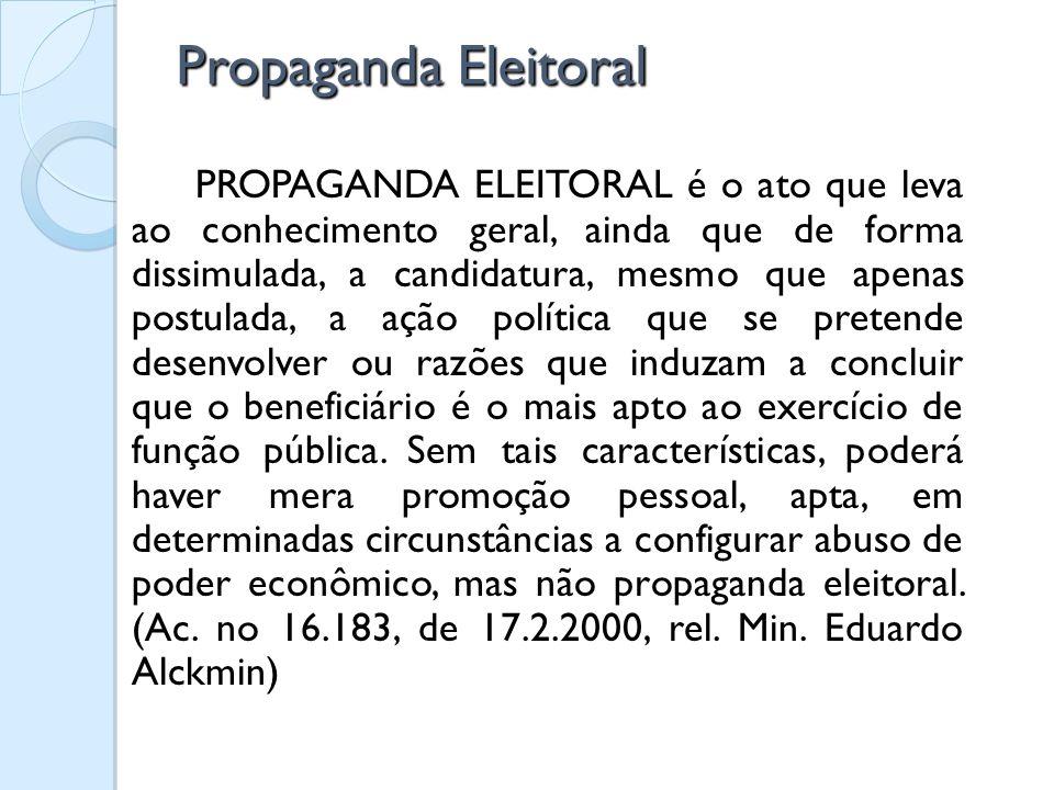 Propaganda Eleitoral PROPAGANDA ELEITORAL é o ato que leva ao conhecimento geral, ainda que de forma dissimulada, a candidatura, mesmo que apenas post