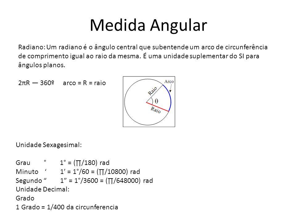 Medida Angular Radiano: Um radiano é o ângulo central que subentende um arco de circunferência de comprimento igual ao raio da mesma. É uma unidade su