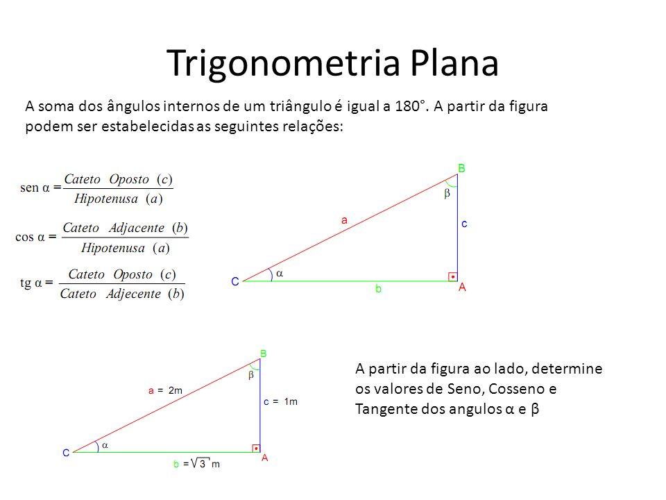 Trigonometria Plana A soma dos ângulos internos de um triângulo é igual a 180°. A partir da figura podem ser estabelecidas as seguintes relações: A pa