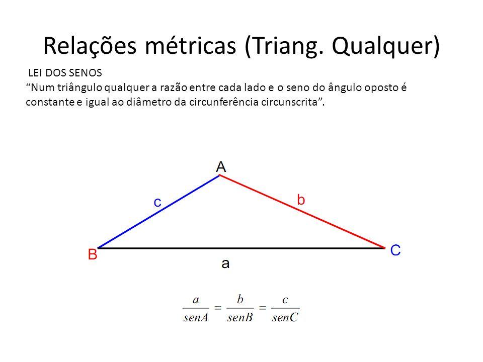 Relações métricas (Triang. Qualquer) LEI DOS SENOS Num triângulo qualquer a razão entre cada lado e o seno do ângulo oposto é constante e igual ao diâ