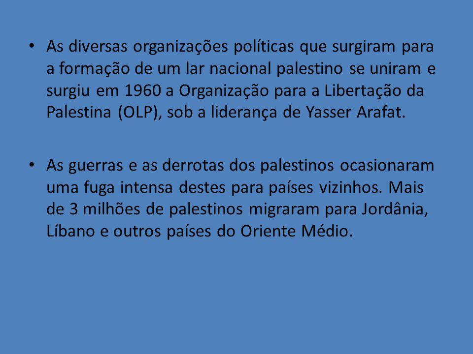 As diversas organizações políticas que surgiram para a formação de um lar nacional palestino se uniram e surgiu em 1960 a Organização para a Libertaçã