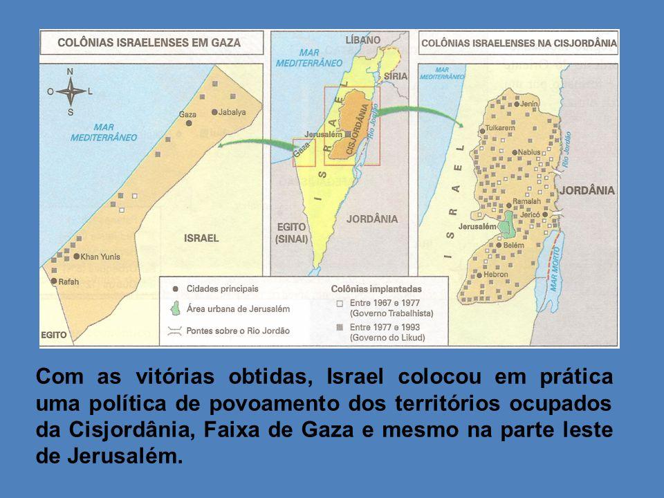 Com as vitórias obtidas, Israel colocou em prática uma política de povoamento dos territórios ocupados da Cisjordânia, Faixa de Gaza e mesmo na parte