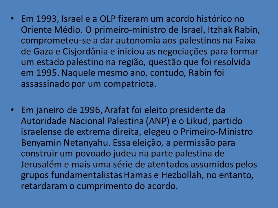 Em 1993, Israel e a OLP fizeram um acordo histórico no Oriente Médio. O primeiro-ministro de Israel, Itzhak Rabin, comprometeu-se a dar autonomia aos