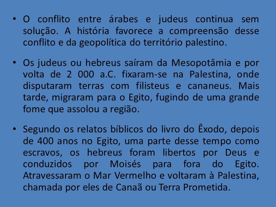O conflito entre árabes e judeus continua sem solução. A história favorece a compreensão desse conflito e da geopolítica do território palestino. Os j