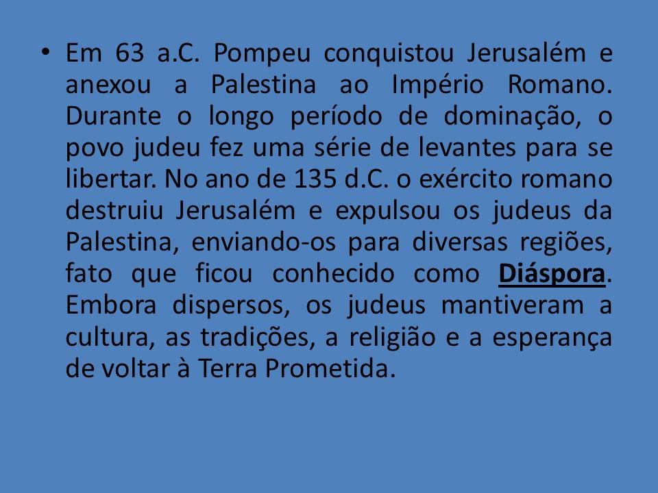 Em 63 a.C. Pompeu conquistou Jerusalém e anexou a Palestina ao Império Romano. Durante o longo período de dominação, o povo judeu fez uma série de lev