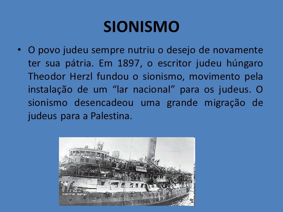 SIONISMO O povo judeu sempre nutriu o desejo de novamente ter sua pátria. Em 1897, o escritor judeu húngaro Theodor Herzl fundou o sionismo, movimento