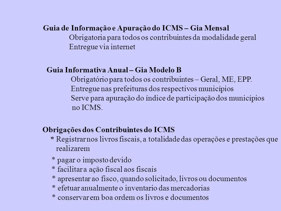 Guia de Informação e Apuração do ICMS – Gia Mensal Obrigatoria para todos os contribuintes da modalidade geral Entregue via internet Guia Informativa