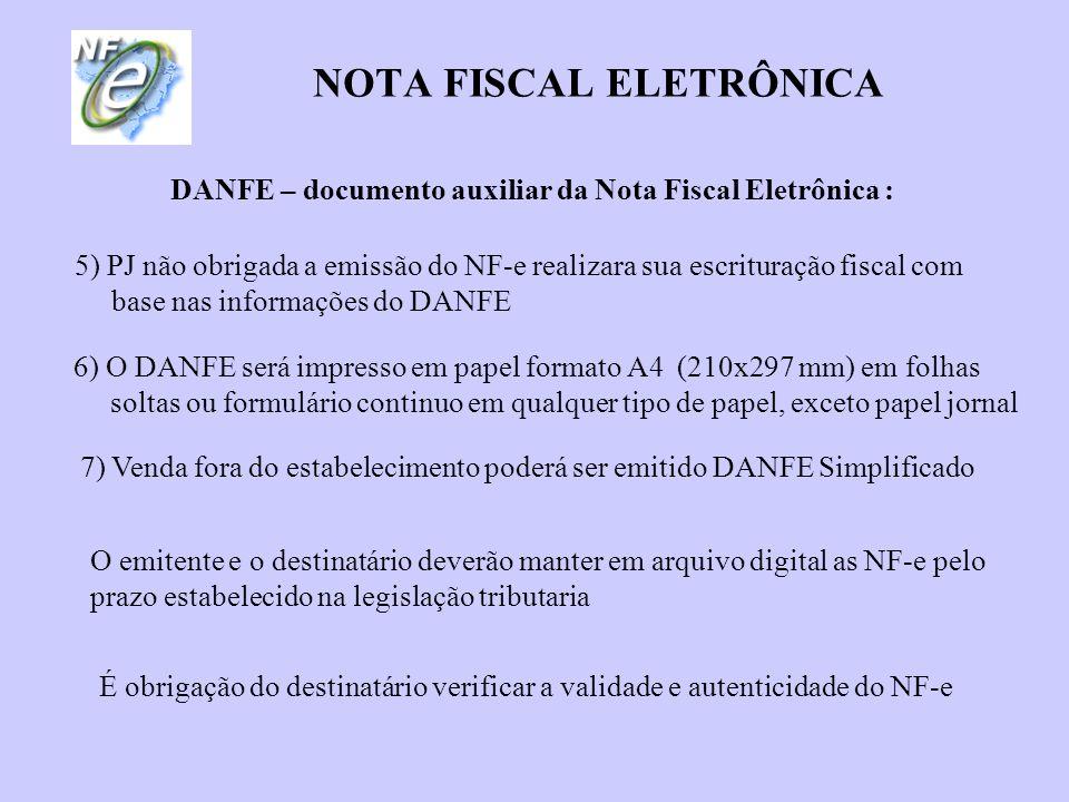 NOTA FISCAL ELETRÔNICA DANFE – documento auxiliar da Nota Fiscal Eletrônica : 5) PJ não obrigada a emissão do NF-e realizara sua escrituração fiscal c