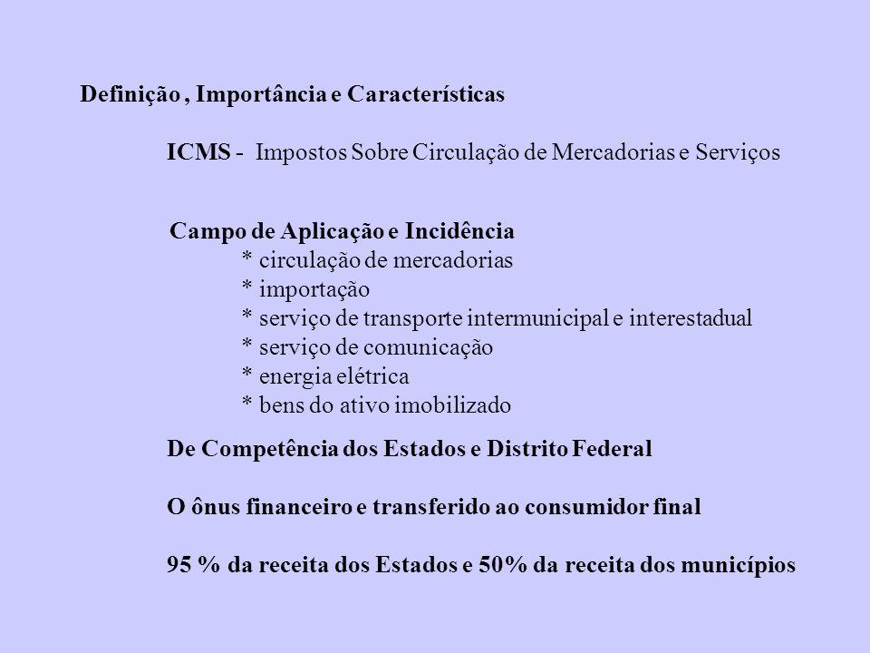 Definição, Importância e Características ICMS - Impostos Sobre Circulação de Mercadorias e Serviços Campo de Aplicação e Incidência * circulação de me