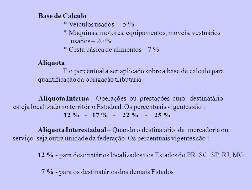 Base de Calculo * Veículos usados - 5 % * Maquinas, motores, equipamentos, moveis, vestuários usados – 20 % * Cesta básica de alimentos – 7 % Alíquota